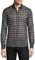 CNC Costume National Button-Front Geometric-Print Dress Shirt, Black/Gray