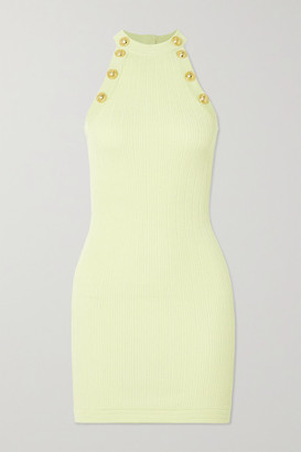 Balmain Button-embellished Ribbed-knit Mini Dress - Yellow