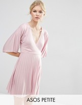 Asos Exclusive Kimono Sleeve Pleated Mini Dress