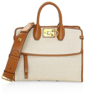 Salvatore Ferragamo Small Studio Leather-Trimmed Canvas Top Handle Bag