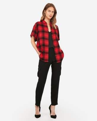 Express Plaid Short Sleeve Flannel Shirt