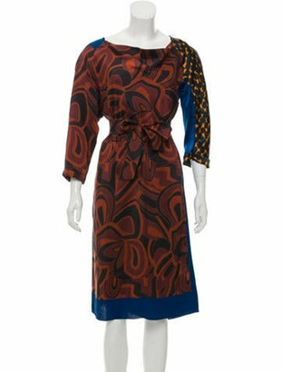Dries Van Noten Silk Printed Knee-Length Dress Brown