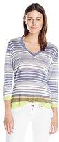 Anne Klein Women's Striped V Sweater