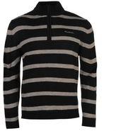 Pierre Cardin Mens Stripe Jumper Ribbed Warm Smart Funnel Neck Quarter Zip Top