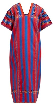Pippa No.132 Embroidered Striped Cotton Kaftan - Navy Multi