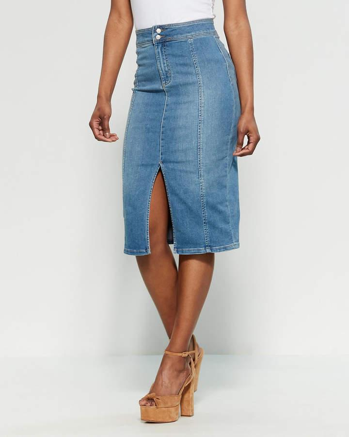 1dcdd06ce Back Zip Denim Pencil Skirt - ShopStyle