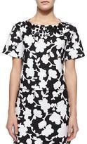 Kate Spade Short-Sleeve Embellished Floral Crop Top