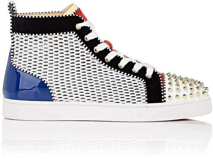 Christian Louboutin Men's Louis Spikes Flat Sneakers