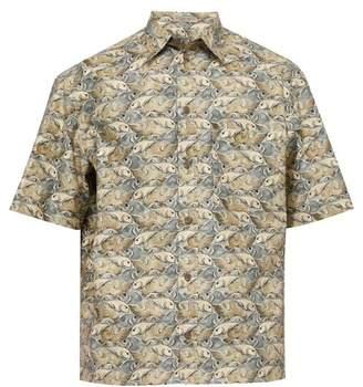 Bottega Veneta Fish Puzzle-print Cotton Shirt - Mens - Beige