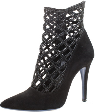 Loriblu Black Cutout Suede Crystal Embellished Pointed Toe Ankle Boots Size 39