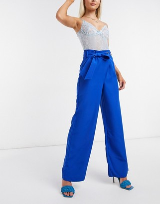 4th + Reckless 4th & Reckless tie waist trouser co-ord in petrol blue