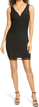 Bebe Ruched Body-Con Mesh Dress