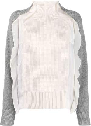 Sacai frill-trimmed two-tone jumper