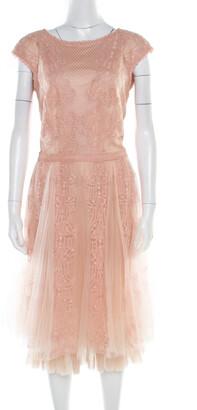 Tadashi Shoji Peach Floral Lace Overlay Sleeveless Layered Tulle Dress M