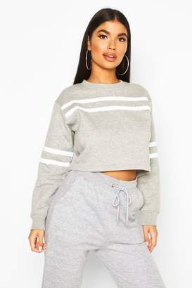 boohoo Petite Double Sport Stripe Sweat Top
