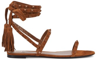 Valentino Rockstud brown suede sandals