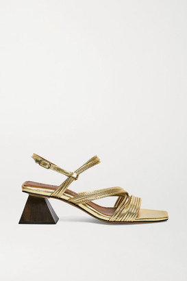 Souliers Martinez Penelope 55 Metallic Leather Slingback Sandals - Gold