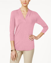 Charter Club Three-Quarter-Sleeve V-Neck Top, Only at Macy's