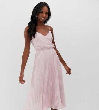 Asos Tall DESIGN Tall pleated cami midi dress with drawstring waist-Pink