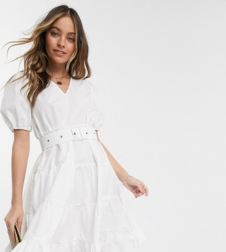 Vero Moda Petite tiered smock dress with removeable belted waist in white