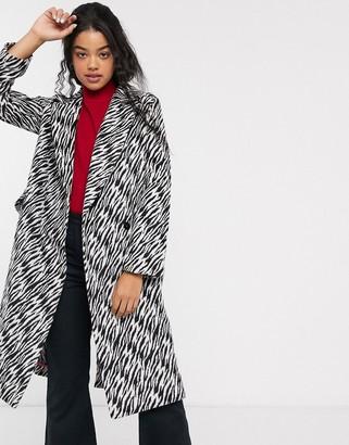 Asos DESIGN black and white animal coat