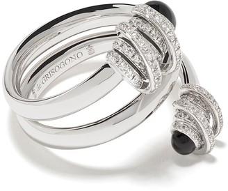 de Grisogono 18kt White Gold Spiral Onyx And Diamond Ring