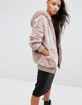 Asos Oversized Bomber Jacket with Hood in Faux Fur