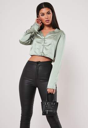 Missguided Green Satin Button Front Crop Top