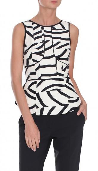 Tibi Zebra Maze Sleeveless Top