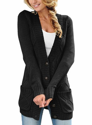 Roskiky Women's Long Sleeves Open Front Cardigan Buttons Cable Knit Chunky Sweater Outerwear Light Grey Size M