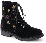 Betsey Johnson Black Bugsy Velvet Combat Boots
