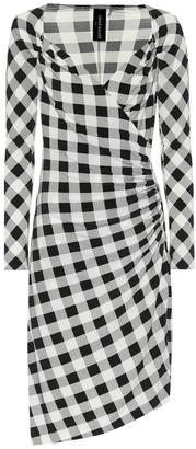 Norma Kamali Exclusive to Mytheresa Checked jersey asymmetric dress