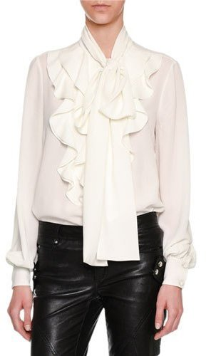 Alexander McQueen Ruffle-Front Tie-Neck Blouse, White