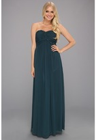 Calvin Klein Chiffon Gown with Ruched Bodice (Pine) - Apparel