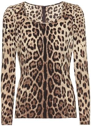 Dolce & Gabbana Leopard-print stretch-silk crApe top
