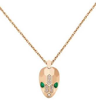 Bvlgari Serpenti Seduttori 18K Rose Gold, Diamond & Malachite Pendant Necklace