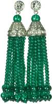 Kenneth Jay Lane Tassel & Pave Crystal 12 Strand Emerald (Green) Bead Earring
