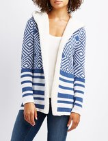 Charlotte Russe Patterned Shearling-Trim Hooded Cardigan