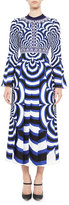 Mary Katrantzou Desmine Printed Bell-Sleeve Midi Dress, Blue/Multi