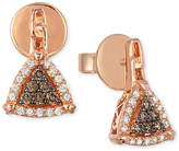LeVian Neo Geo Le Vian Chocolatier® Chocolate and Vanilla Diamond Triangle Earrings (1/4 ct. t.w.) in 14k Rose Gold
