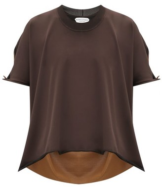 Bottega Veneta Bi-colour Raw-hem Knitted Top - Brown Multi