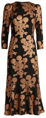 Andrew Gn Jacquard Long-Sleeved Dress