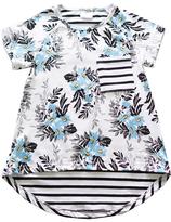 Honeydew White Stripe & Floral Contrast Hi-Low Tee - Girls