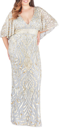 Mac Duggal Plus Size Sequin Embellished Plunge-Neck Drape-Sleeve Gown