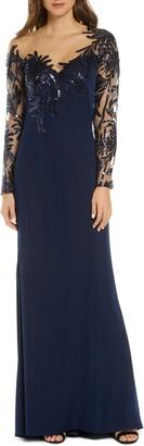 Tadashi Shoji Sequin & Lace Long Sleeve Evening Gown