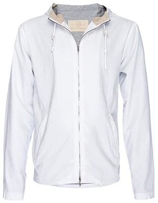 Nifty Genius Hooded Zip Beach Jacket (White) Men's Jacket