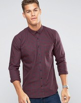 Lindbergh Shirt Slim Fit With Gingham Check In Burgundy