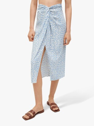 MANGO Knotted Waist Floral Midi Skirt, Light Blue