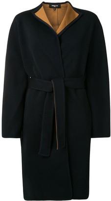 Paule Ka Contrast Lining Belted Coat
