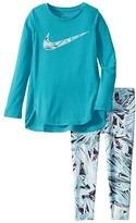 Nike Dri-FITtm Sport Essentials Long Sleeve Tunic and Leggings Two-Piece Set (Toddler/Little Kids) (Teal Nebula) Girl's Active Sets